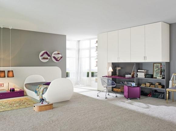 dormitorio púrpura blanco de niños