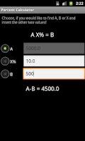 Screenshot of Percentages calculator