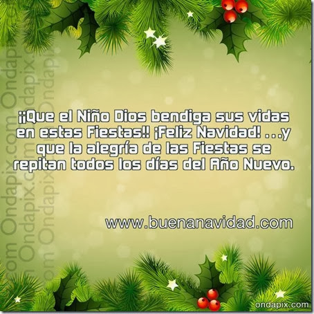 ¡¡Que el Niño Dios bendiga sus vidas en estas Fiestas!! ¡Feliz Navidad! …y que la alegría de las Fiestas se repitan todos los días del Año Nuevo.