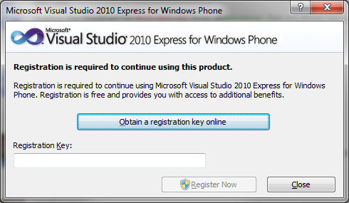 visual studio c express registration key