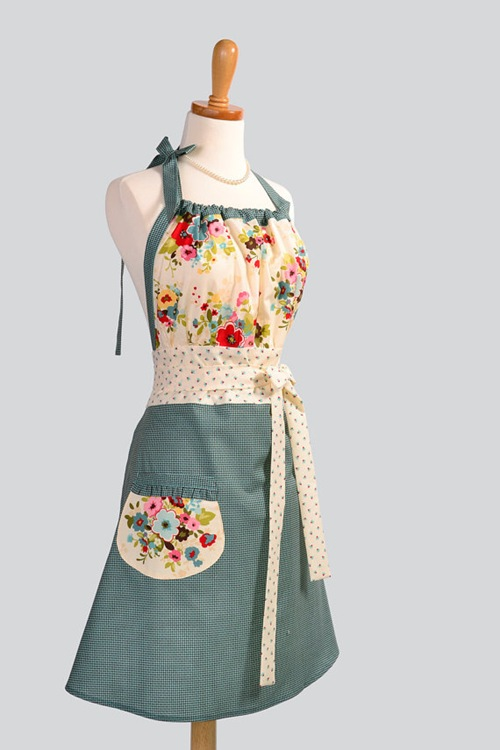 Turquoise/Brown Houndstooth & Creamy Florals Apron by Creative Chics