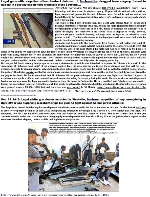 AFRIKANERS ARRESTED TRUMPED UP CHARGES TWO LEGAL GUNSMITHS AND GUN DEALERS ARRESTS