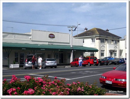 Yarrows family bakery, Manaia. The old BNZ bank building to the right.