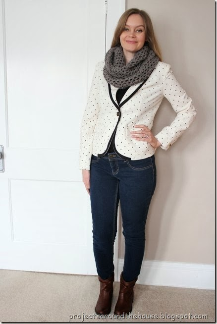 Polka dot blazer with skinny jeans, ankle boots and a scarf