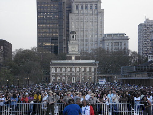 The Obama rally on Independence Mall, Philadelphia, April 18, 2008. The crowd was estimated at 35,000.