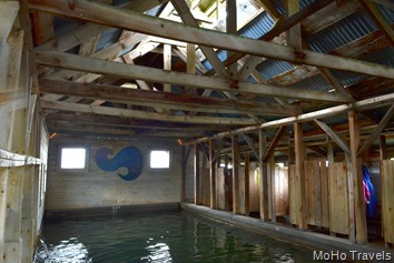interior of the bath house and the spring pool