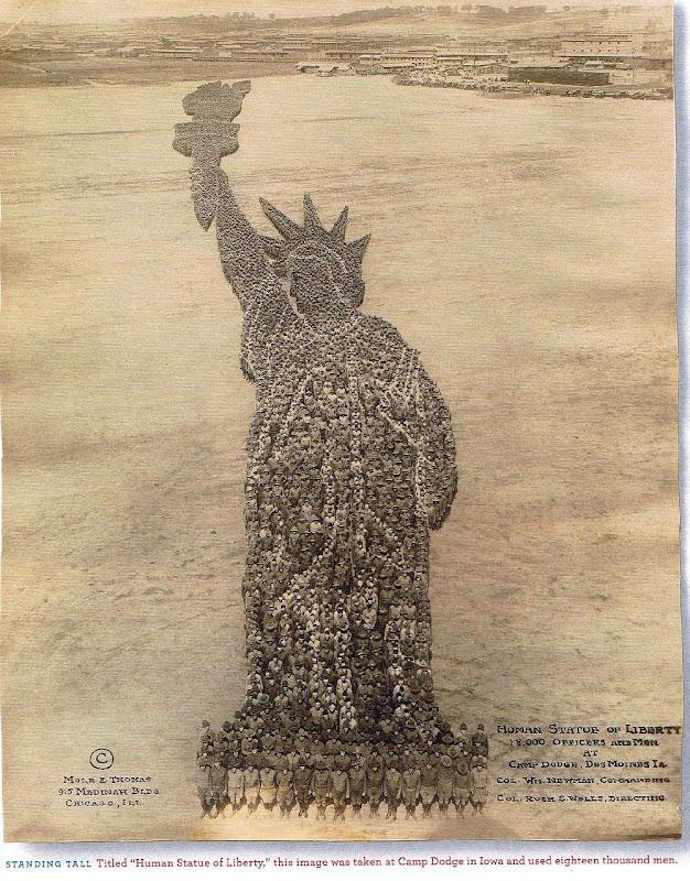 Human Statue of Liberty at Camp Dodge , in Iowa