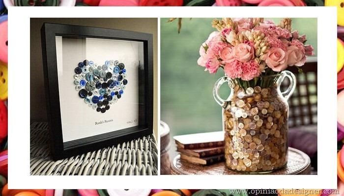 quadro de botões e enfeite de vaso