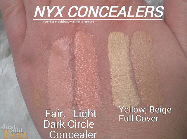 NYX Dark Circle & Full Coverage in a Jar Concealer, Review & Swatches of Shades Fair, Light, Beige and Yellow