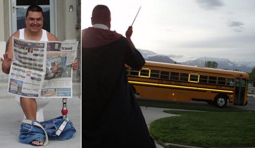 Pai veste fantasias para dar tchau e constranger o filho no ônibus escolar1