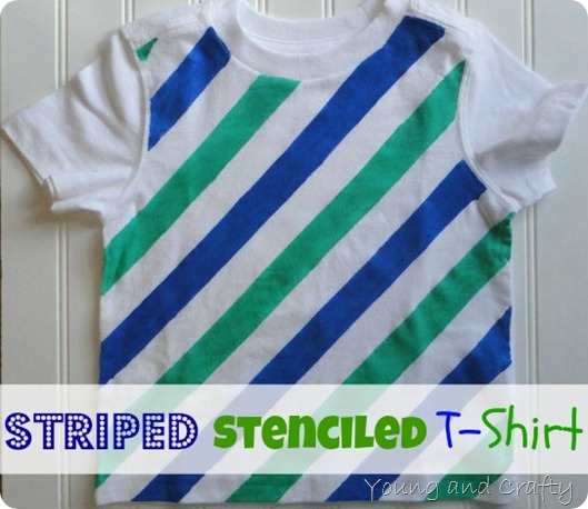 Striped Stenciled T-shirt