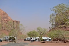 Monument Valley Nearly obscurred in a distance...blowing dust!