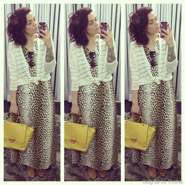 look vestido estampado onça, cardigã branco e bolsa lima (2)