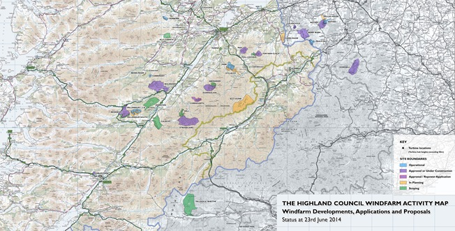 Highland Council Windfarm Map June 2014