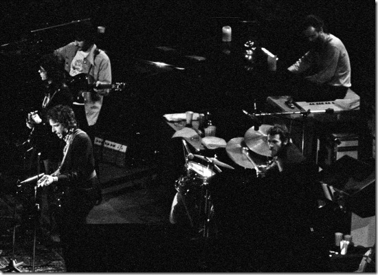 "Bob Dylan and The Band at Assembly Hall in Bloomington, Ind. on Feb. 3, 1974. The 40-show tour in January and February of 1974 resulted in the ""Before the Flood"" double album, released in June, 1974."