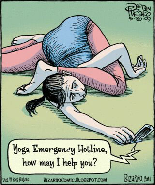"A woman lying in a tangled yoga position holding a mobile phone saying ""Yoga Emergency Hotline, how may I help you?"""