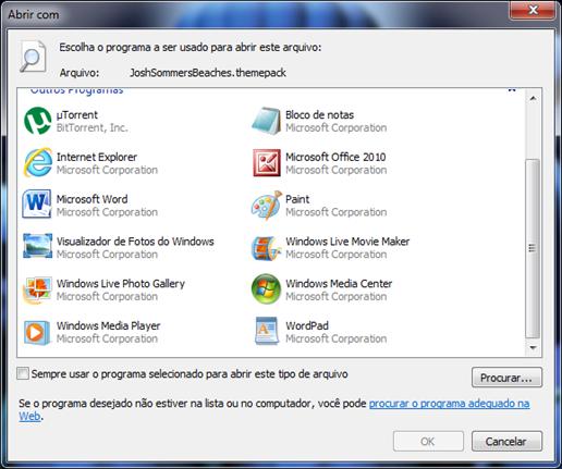 Selecione o WinRAR ou um programa semelhante na lista. Desmarque a opção Sempre usar o programa selecionado para abrir este tipo de arquivo e clique em OK.