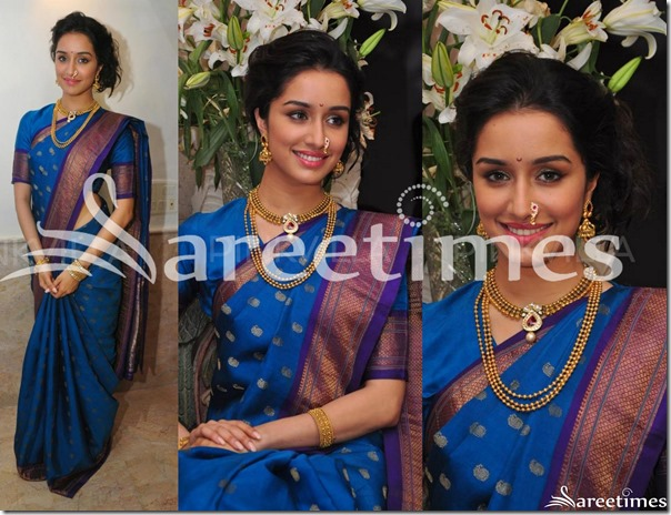 Shraddha_Kapoor_Blue_Silk_Saree