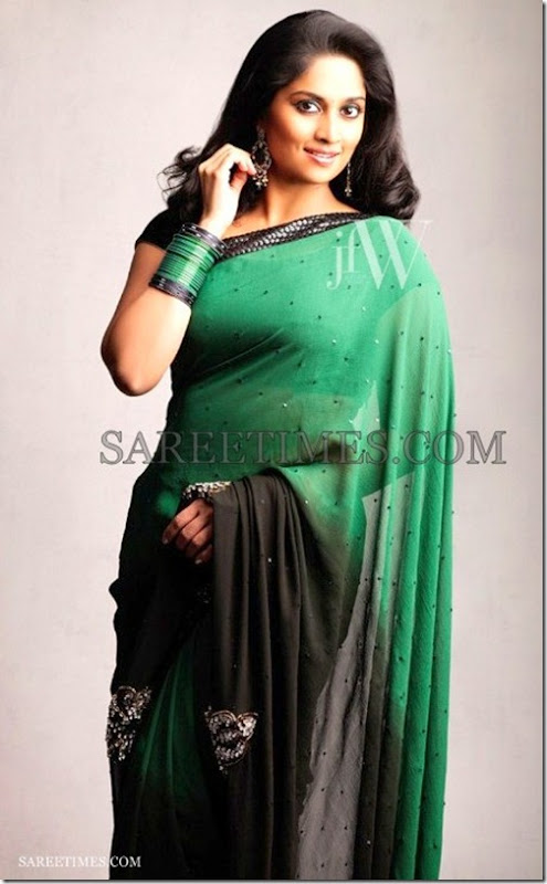 Shalini_Green_Black_Saree