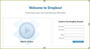 การสมัคร dropbox
