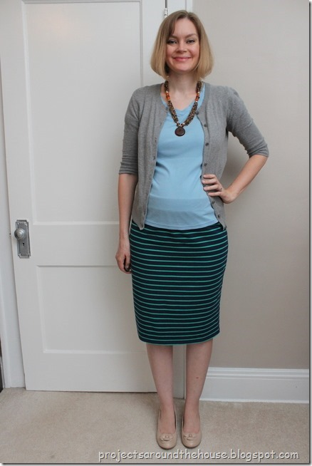 navy and green striped skirt