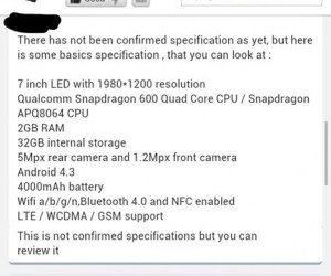 Nexus 7 refresh specs