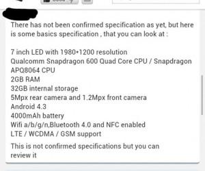 Nexus 7 refresh specs