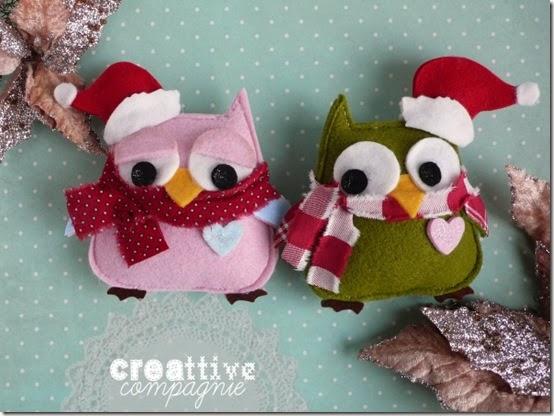 gufi civette decorazioni natalizie 1