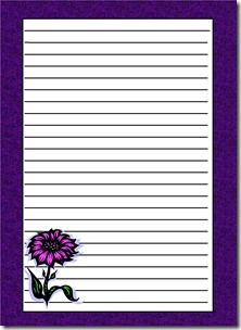 purple flower letter paper