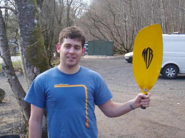 Tim with the retrieved part of his paddle
