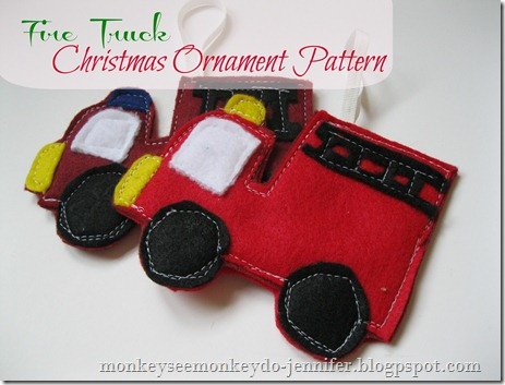 fire truck christmas ornament pattern