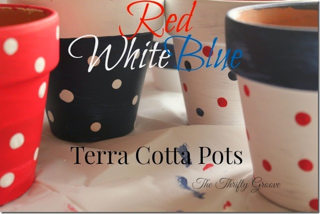 Red,White Blue Terra Cotta Pots