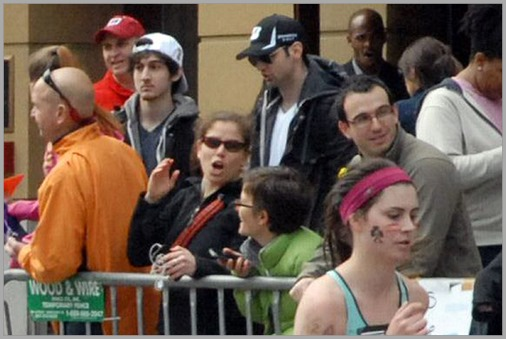 The Brothers Tsarnaev at the Boston Marathon just prior to the bombing they are accused of carrying out. CLICK for coverage from the Los Angeles Times.