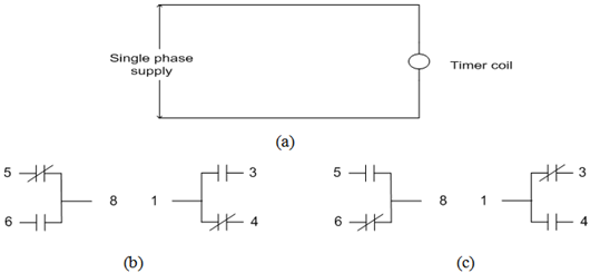 (a) Timer coil connection (b) Contact condition before and after energize