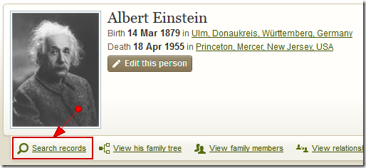 Albert Einstein page in an Ancestry Member Tree