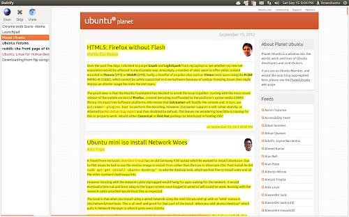 Deltify su Ubuntu - siti con news