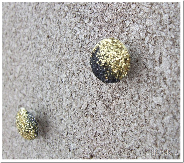 dipped black and gold glitter push pins