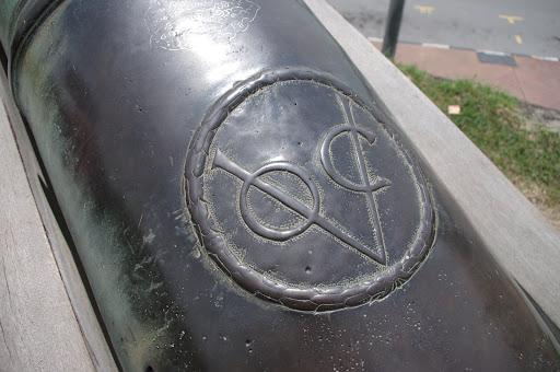 A Dutch cannon bearing the V.O.C. mark of the Dutch East India Company (Verenigde Oost Indische Companie)