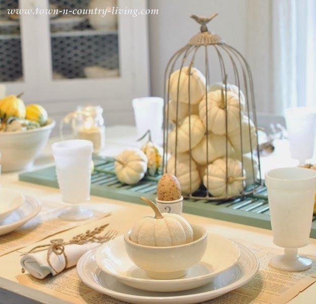 Beautiful white and neutral fall tablescape featured on DETAILS