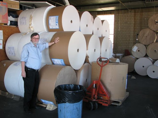 These enormous rolls of paper will eventually find thier way to the printing press and into the homes of readers as the printed edition of the West Plains Daily Quill.