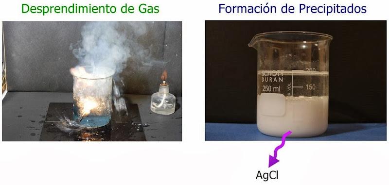 Desprendimiento de gas y formacion de precipitados