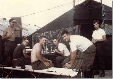 11-10-1968, USMC BDay visiting Bud Harness  in DaNang Steak Cookout