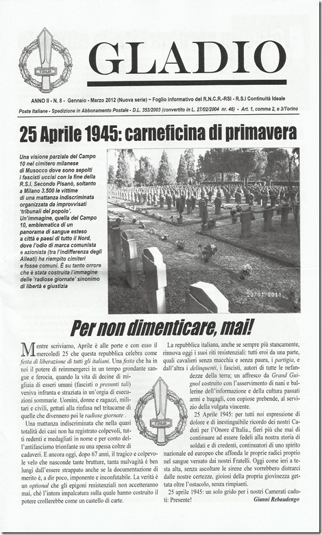 Gladio anno II n° 8  gennaio marzo 2012