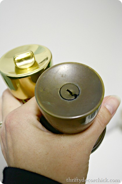 spray painting brass knobs