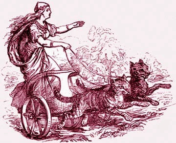 Freyja, dei della fertilità dei Vichinghi con carro trainato da due gatti (picc)