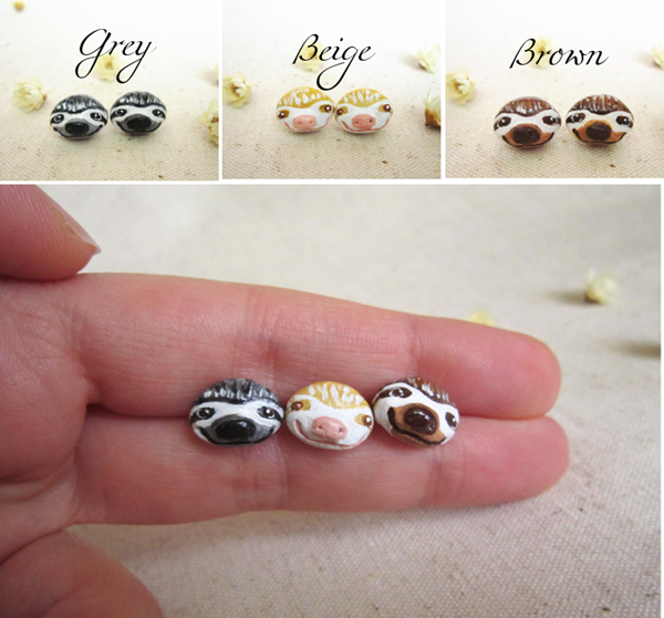sloth stud earrings4