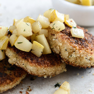 Crispy Goat Cheese Risotto Cakes with Warm Winter Pears