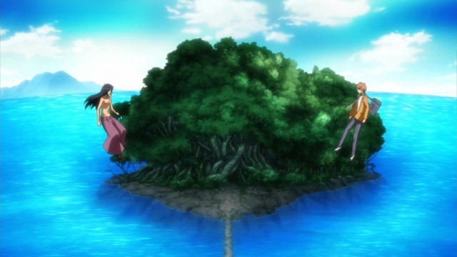 Up in the sky, both Aratas float across from each other against a small forested island in the water connected by a narrow land bridge.