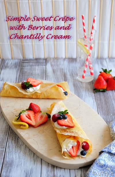 Simple Sweet Crêpe with Berries and Chantilly Cream
