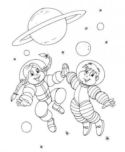Un universo de astronautas para pintar - Dibujos infantiles del espacio ...